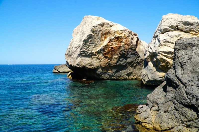 Swimming in coves in Western Mallorca.