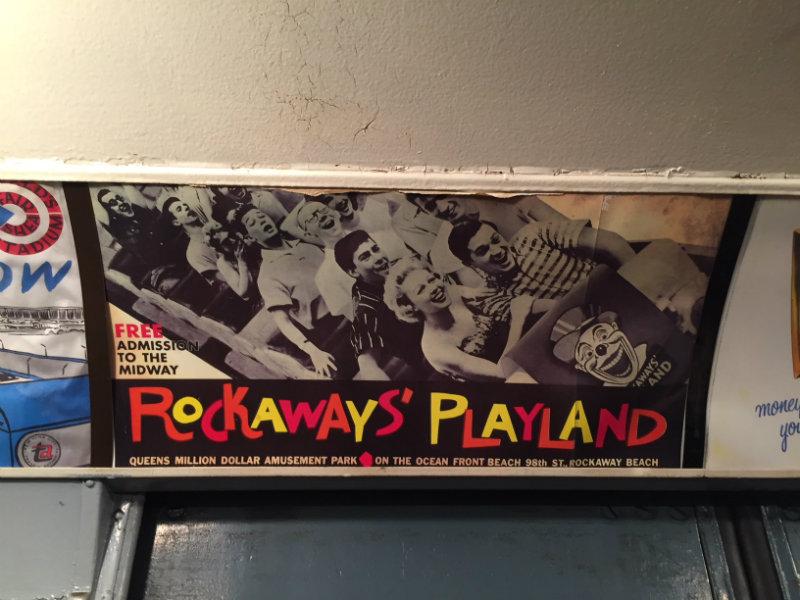 Rockaways advertisement on the Holiday Nostalgia train ride in New York city