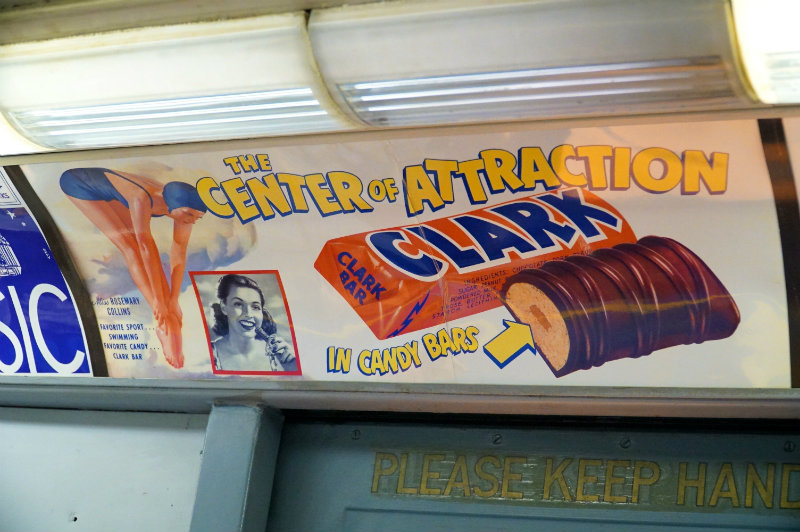 Clark bar advertisement on the holiday nostalgia train in New York City