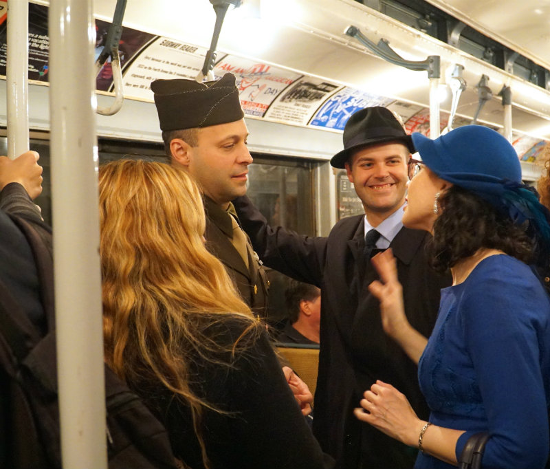 People in period costume on the Holiday Nostalgia Train in New York City