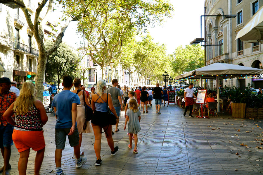 Walking on La Rambla on the day of the terrorist attack in Barcelona.