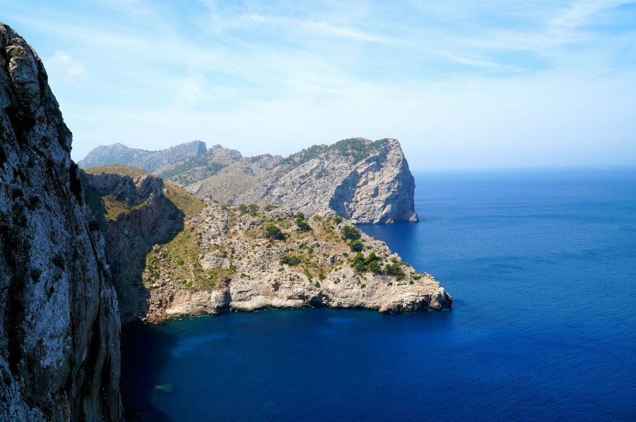 Dramatic rock formations on Cap de Formentor in mallorca