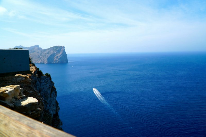 Overlooking the Mediterranean sea at the lighthouse on cap de Formentor in Mallorca.