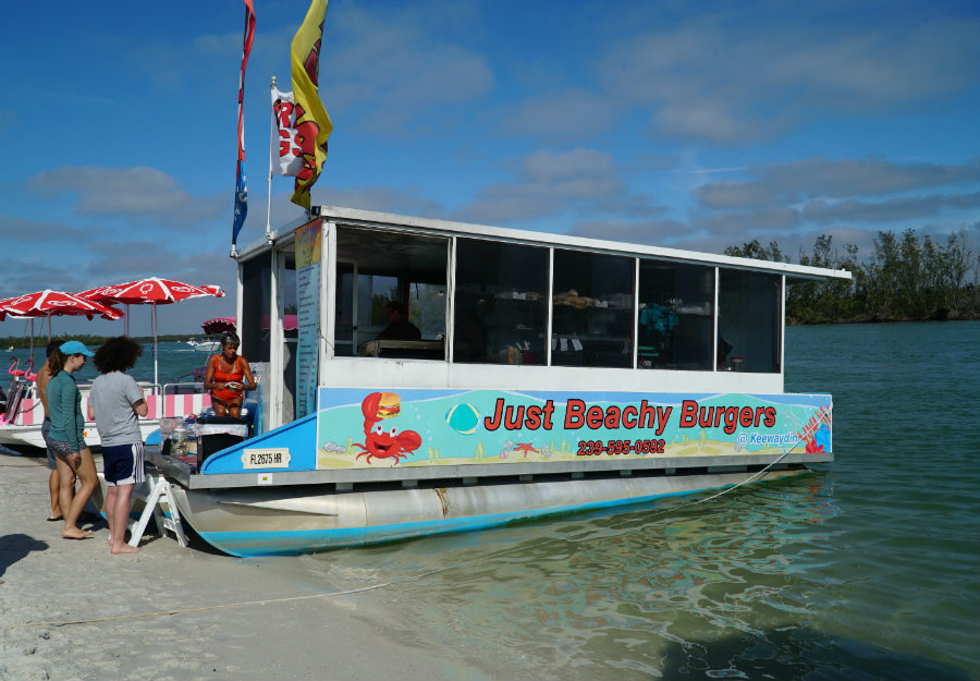 Food boat on Keewaydin Island in Florida.