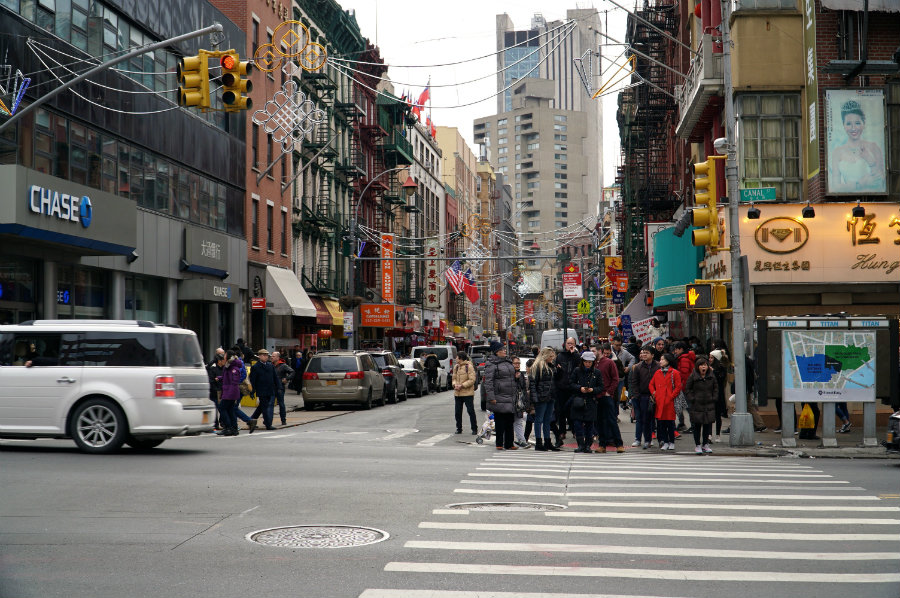 Shopping on Canal Street in Chinatown NYC
