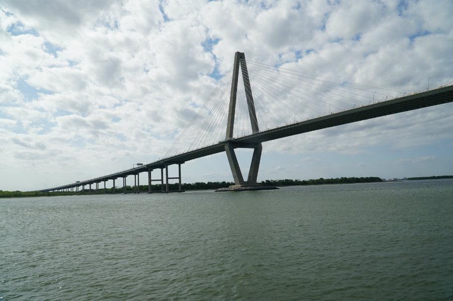 A boat ride under the Arthur Ravenel Jr. Bridge in our Charleston Getaway