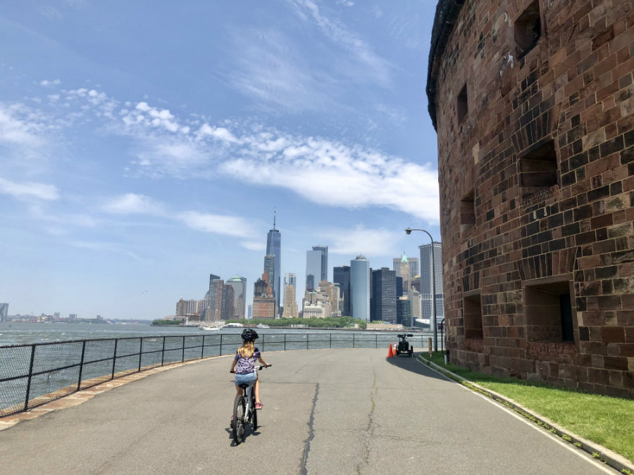 Biking around the perimeter of Governors Island in New York