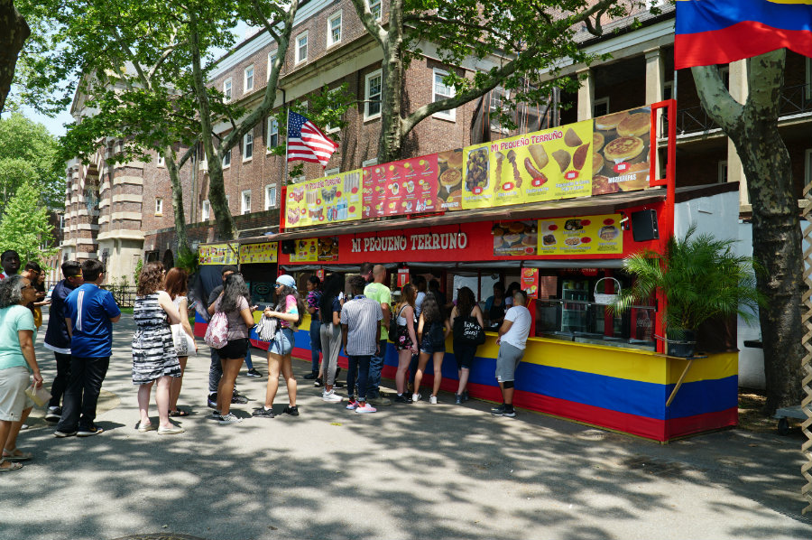 Eating Mexican food on Governors Island in New York