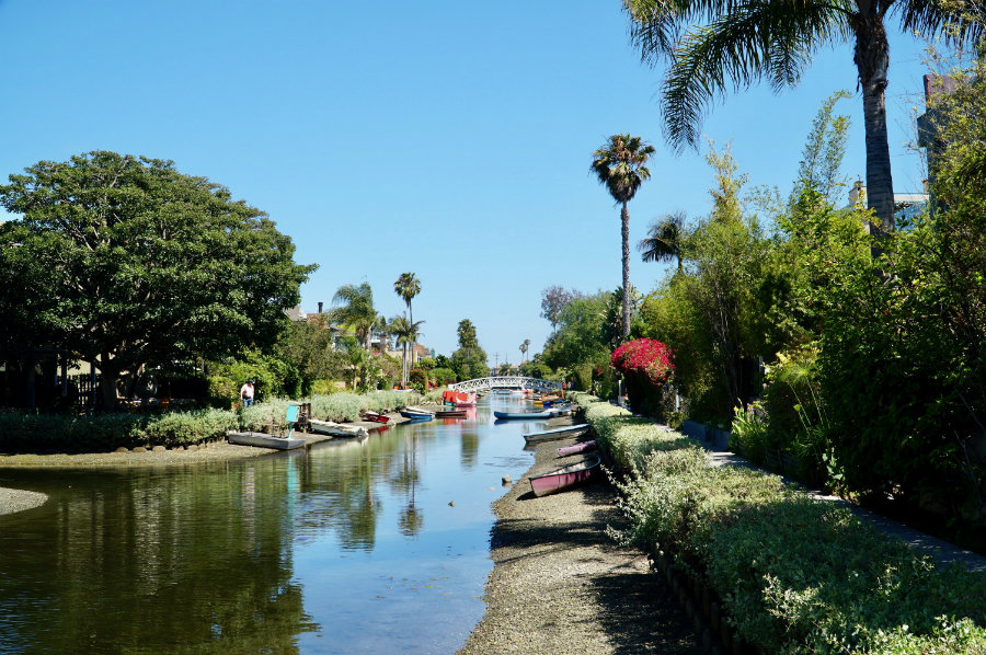 Walking along the Venice Canals in Venice Beach, CA