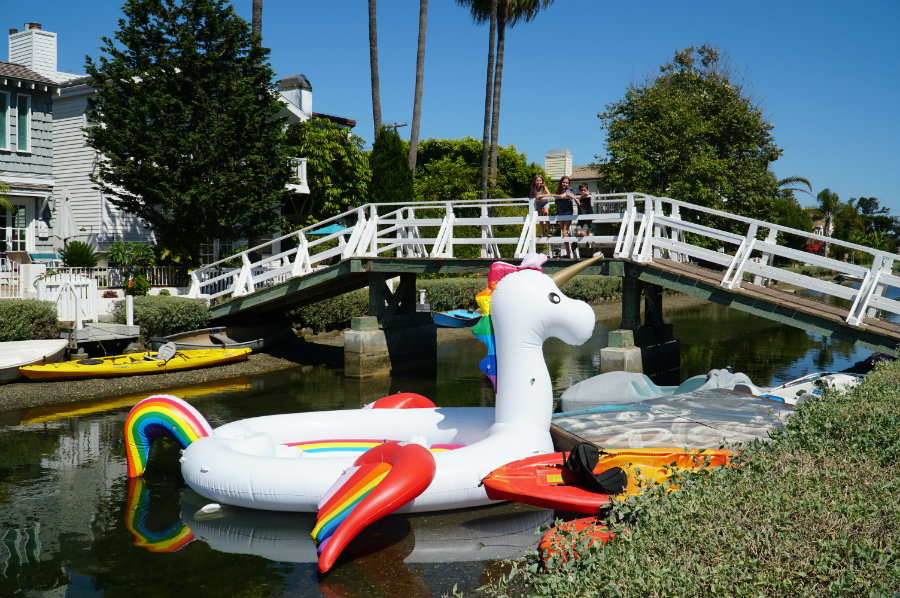 Giant Unicorn float in the Venice Beach canals in Venice Beach, CA