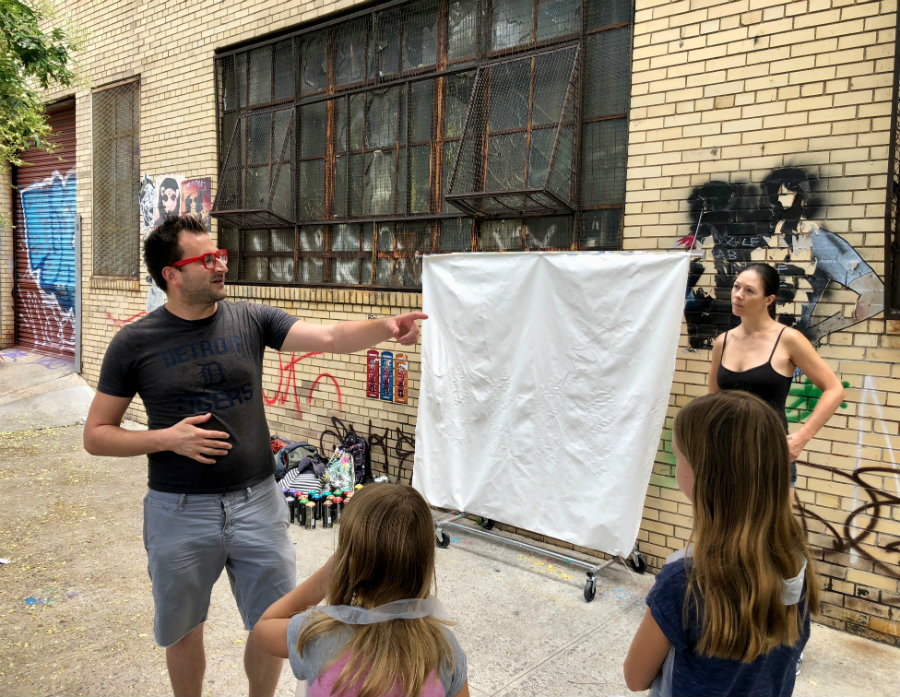 Jeff with Brooklyn Unplugged teaching a street art workshop