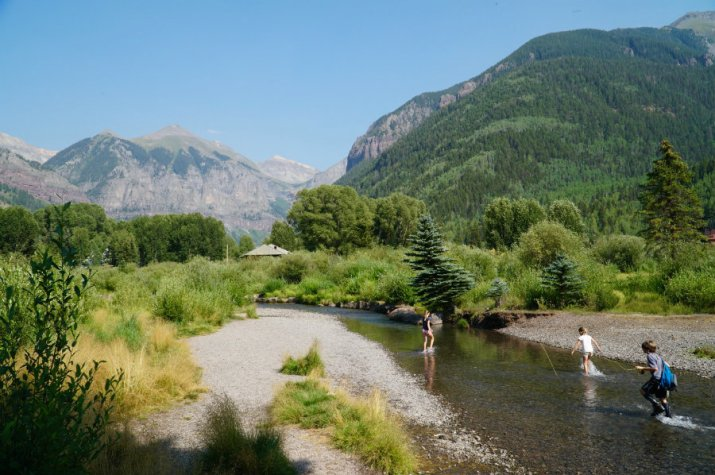 Having fun in the San Miguel River in Telluride