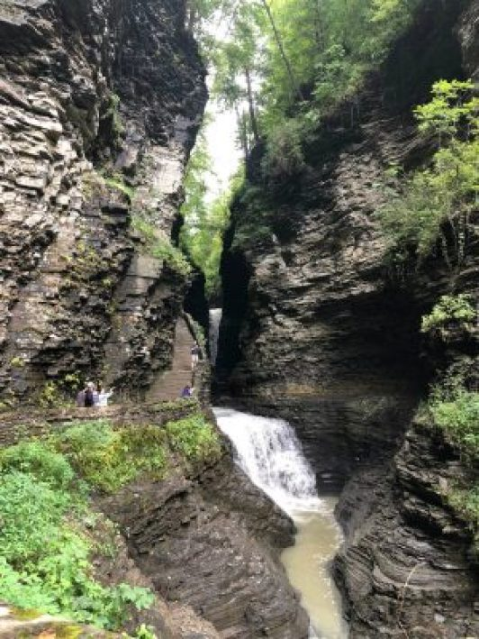 Hiking through Watkins Glen State Park waterfalls