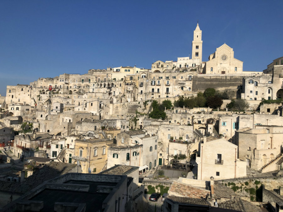 View of the Sassi from the Hotel Sassi in Matera Italy