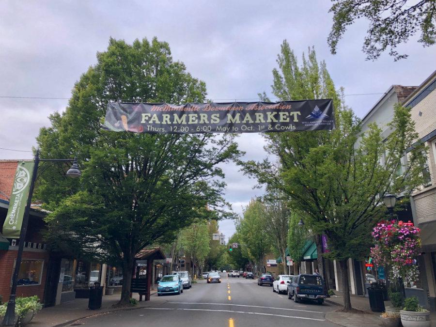 Walking on Main Street in McMinnville Oregon