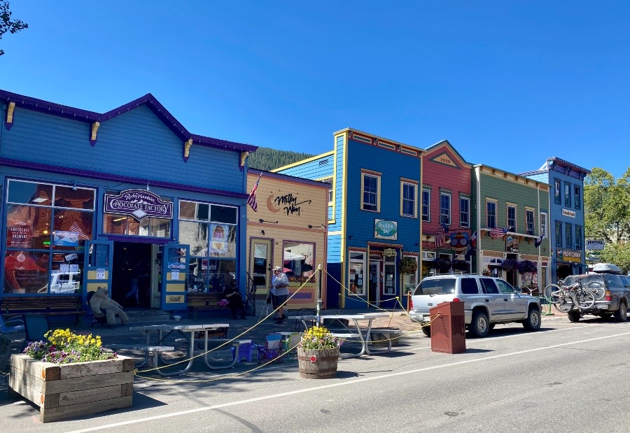 the colorful buildings of downtown Crested Butte