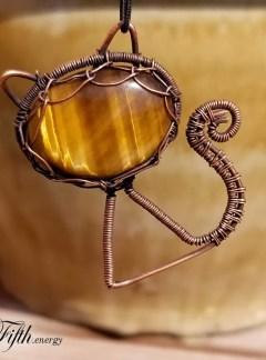 Fifth Energy Jewelry Tigers Eye Feline Pendant Unique Gifts