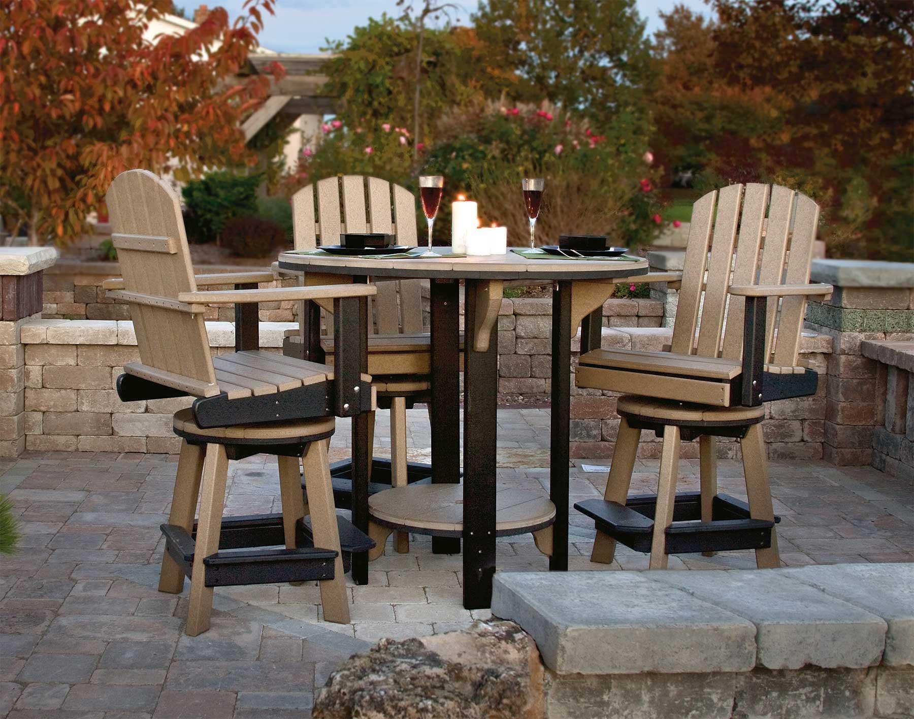 Poly Lumber Pub Table W/3 Balcony Swivel Chairs