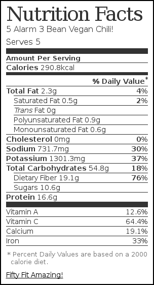 Nutrition label for 5 Alarm 3 Bean Vegan Chili!