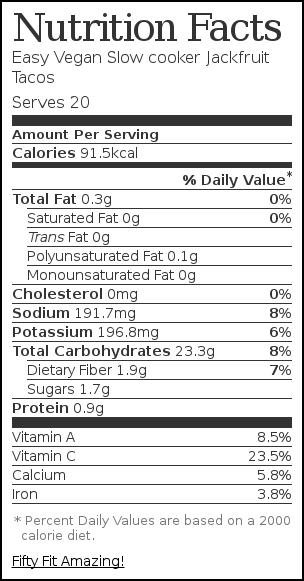 Nutrition label for Easy Vegan Slow cooker Jackfruit Tacos
