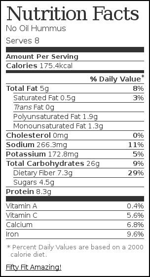 Nutrition label for No Oil Hummus