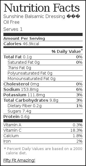 Nutrition label for Sunshine Balsamic Dressing – Oil Free