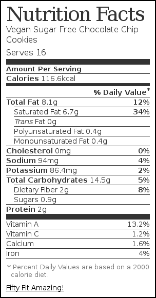 Nutrition label for Vegan Sugar Free Chocolate Chip Cookies
