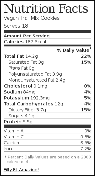 Nutrition label for Vegan Trail Mix Cookies