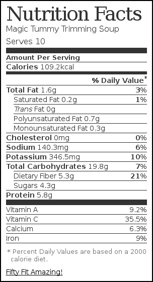 Nutrition label for Magic Tummy Trimming Soup