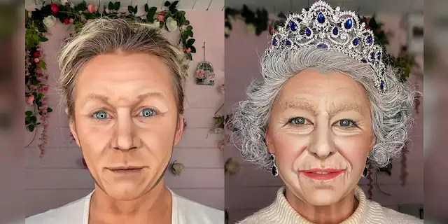 Lacao modeling her Gordon Ramsay and Queen Elizabeth looks. She spends four to eight hours carefully transforming herself into each of the celebrities.