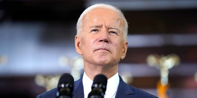 President Biden delivers a speech on infrastructure spending at Carpenters Pittsburgh Training Center, Wednesday, March 31, 2021, in Pittsburgh. (AP Photo/Evan Vucci)