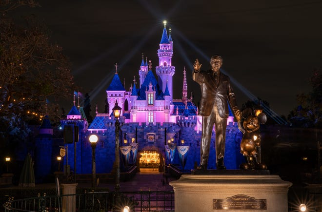 Sleeping Beauty Castle in the heart of Disneyland Park in Anaheim, California, reawakens during a special live streamed moment welcoming cast members back to the Disneyland Resort, April 26, 2021. Disneyland Resort theme parks will reopen to guests Friday, April 30, 2021.