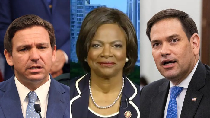 U.S. Rep. Val Demings is reportedly eyeing the job of either Gov. Ron DeSantis, left, or U.S. Sen. Marco Rubio. (AP/Fox/AP)
