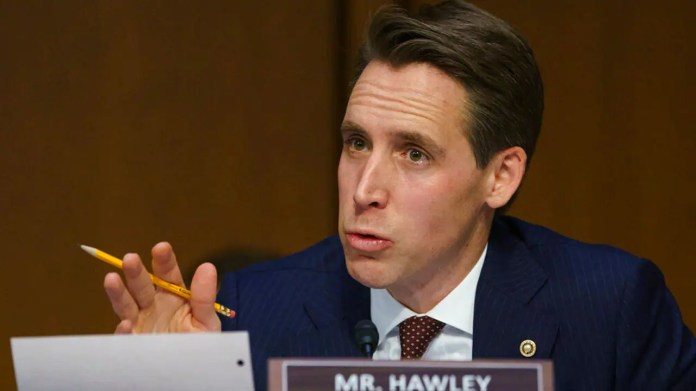 In this Jan 15, 2019 file photo, Senate Judiciary Committee committee member Sen. Josh Hawley, R-Mo., questions Attorney General nominee William Barr during a Senate Judiciary Committee on Capitol Hill in Washington. (AP Photo/Carolyn Kaster, File)
