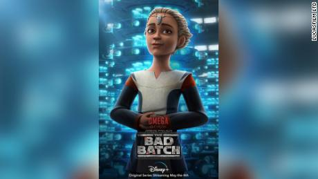 """For the May 4 debut of """"Star Wars: The Bad Batch"""" on Disney+, Lucasfilm and The Walt Disney Company released a poster collection featuring key characters, including one of Omega, shown here."""