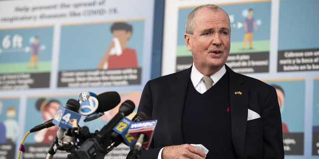 Phil Murphy, New Jersey's governor, speaks at a news conference after touring the New Jersey Convention and Exposition Center Covid-19 vaccination site in Edison, New Jersey, U.S., on Friday, Jan. 15, 2021. (Mark Kauzlarich/Bloomberg via Getty Images).