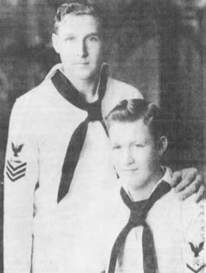 This undated photo of brothers Clayton, left, and Jerry Schenkelberg ran Dec. 2, 1991, in the Des Moines Register, part of the USA TODAY Network. Both men were stationed at Pearl Harbor on the day of the attack. Jerry was on the battleship Nevada, which was hit by torpedoes. Clayton was at a submarine base.