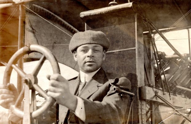 Emory Conrad Malick was the first licensed Black pilot in the United States, earning his FAI license on March 20, 1912. He was the first aviator to fly over central Pennsylvania (1911), and the first African American pilot to earn a Federal Transport License, soon after they were required in 1927. This is his official photo from the Curtiss School of Aviation, Class of 1912.