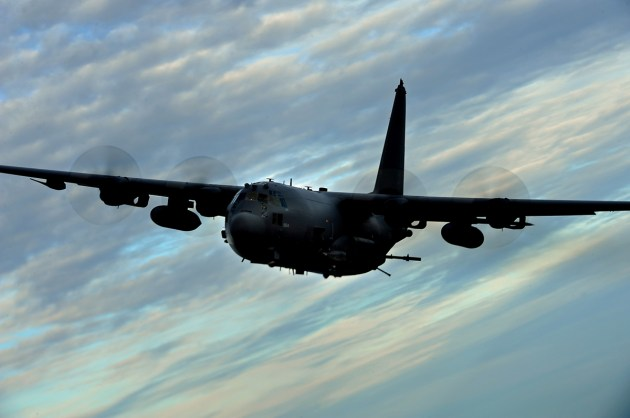 "An AC-130U Gunship from the 4th Special Operations Squadron flies a local training mission on January 27, 2011 at Hurlburt Field, Fla. The AC-130U ""Spooky"" gunship is the primary weapon of Air Force Special Operations Command. Its primary missions are close air support, air interdiction and armed reconnaissance. The U model is an upgraded version of the H and is equipped with side firing, trainable 25mm, 40mm, and 105mm guns. (US Air Force photo by Master Sgt. Jeremy T. Lock) (Released)"