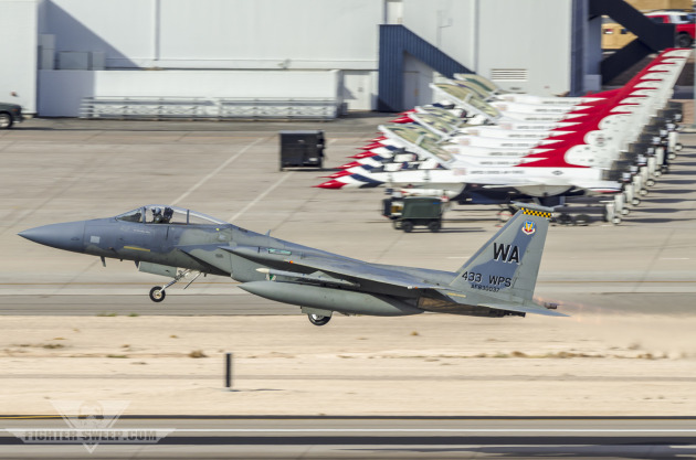 A Boeing F-15C Eagle takes off from Nellis AFB, NV during a Weapons School mission.