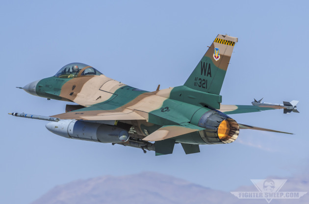 A Block 32 F-16C assigned to the 64th Aggressor Squadron at Nellis Air Force Base takes off for a training mission.