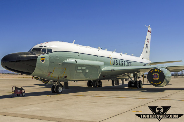 """A Boeing RC-135 """"Rivet Joint"""" reconnaissance aircraft sits on the ramp at Nellis Air Force Base, Nevada."""