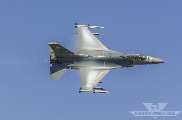 "Captain Joe ""Rocket"" Schenkel demonstrates the high-speed agility of the Block 50 F-16CJ"