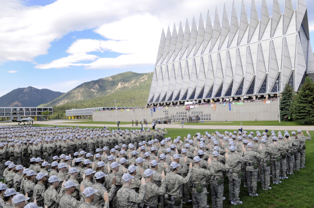 The 1,376 members of the Class of 2013 recite the Oath of Allegiance in front of the cadet chapel, family and friends during their first formation June 26 at the U.S. Air Force Academy in Colorado Springs, Colo.  (U.S. Air Force  U.S. Air Force photo/Mike Kaplan)