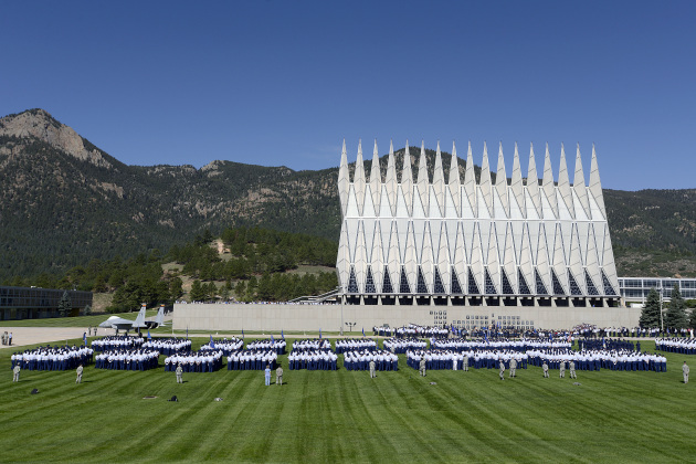 The U.S. Air Force Academy Cadet Wing is formed up on the terrazzo as Air Force Chief of Staff Gen. Mark A. Welsh III, Lt. Gen. Mike Gould, superintendent of the U.S. Air Force Academy and incoming superintendent Lt. Gen. Michelle Johnson begin the change of command ceremony held in Colorado Springs, Colo., Aug. 12, 2013.  (U.S. Air Force photo by Mike Kaplan/Released)