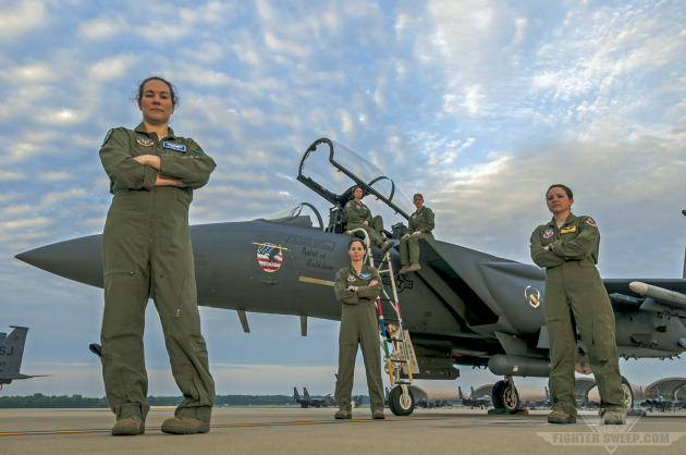 F-15E Strike Eagle pilots and weapon systems officers (WSOs) at Seymour Johnson AFB, NC.