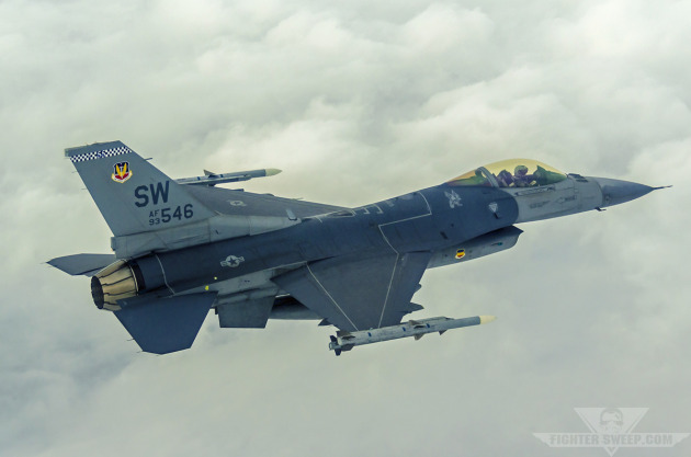 "Captain John ""Ocho"" Brown, 55th Fighter Squadron, flies a Block 50 F-16CJ through Bulldog MOA in eastern Georgia during a training mission."