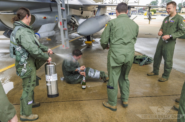 """Chafe"" gets hosed down in classic fashion upon completing his last flight with the 55th Fighter Squadron."