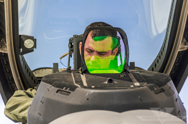 """""""Fangs"""" prepares to launch his F-22A Raptor for a training mission at the USAF Weapons School."""