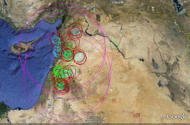 This overview of the Syrian IADS depicts locations and effective ranges of the various SAM systems employed, denoted by the different-colored rings. (Copyright Airpower Australia/Google Earth)